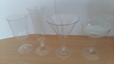 Plastic Wine Champagne Cocktail Martini Glasses Disposable Party Great Value!