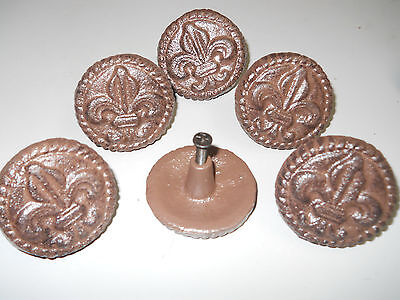 2 Cast Iron Antique Style FLEUR DE LIS Drawer Pull Barn Handle Door Knobs ROUND