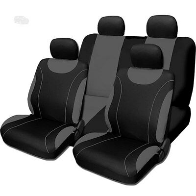 For Jeep New Flat Cloth Black and Grey Front and Rear Car Seat Covers Set