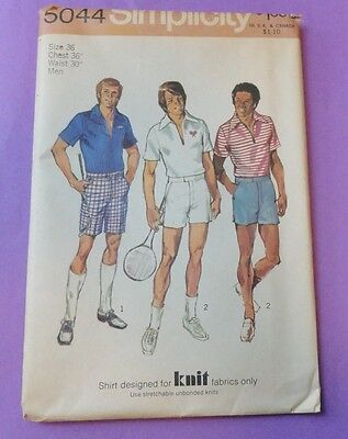 Vintage SIMPLICITY 5044 Sewing Pattern MEN'S Sz 36 Shorts & Shirt for Knits UC