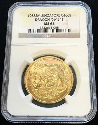 1988 Sm Gold Singapore 100 Singold 1 Oz  Dragon Coin Ngc Mint State 68