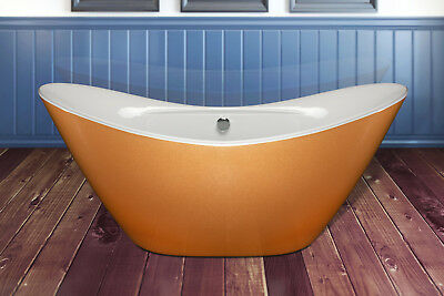 "67"" Freestanding Gold & White Finish Acrylic Soaking Bathtub w/ Brass Tub Filler"