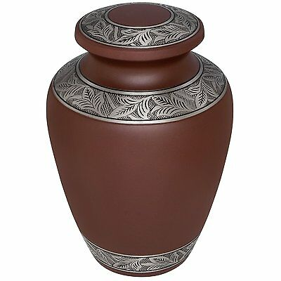 Adult Brown Cremation Urns, Large New Funeral Urn For Human Ashes