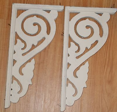 """Pair of Vintage Wood Corbel Brackets – Painted White 17.25"""" tall"""