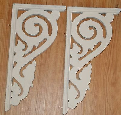 "Pair of Vintage Wood Corbel Brackets – Painted White 17.25"" tall"
