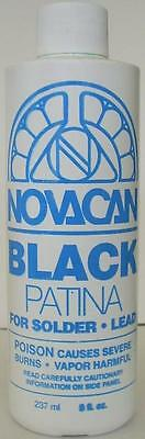 Stained Glass Supplies Novacan Black Patina for Copper Foiling 8 oz Bottle
