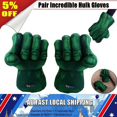 1 Pair Incredible Hulk Smash Hands Plush Punching Boxing fists Gloves Cosplay ZH