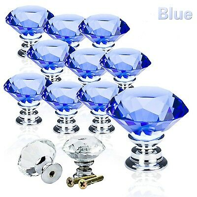 10 x Real Glass Round Ball Mortice Knobs Crystal Door Internal Latch Handle Set