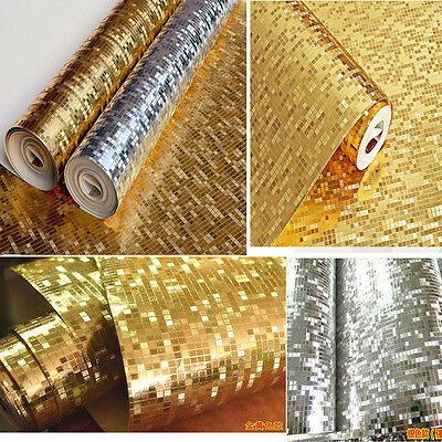 3D Feature Mirror Gold / Silver Non-Woven Wallpaper 10X0.53M Rolls