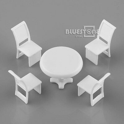 10 Sets 1/50 O Scale White Plastic Round Table & Chair Kit Building Model Layout