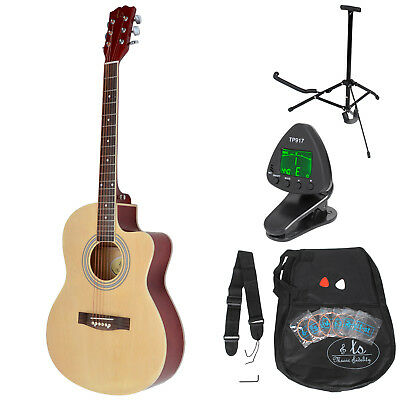 4/4-size Western country acoustic guitar natural-coloured digital tuner stand