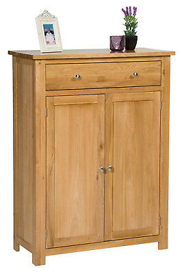 Large Oak Shoe Storage Cabinet | Wooden Hallway Cupboard/Organiser with Drawer