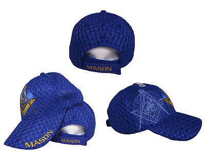 Mason Masons Freemason Masonic Lodge Royal Blue Shadow Mesh Texture Ball Cap  Hat 9e824051c8ce
