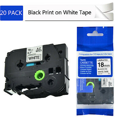 "20PK TZ241 TZe241 3/4"" Black on White Tape 18mm 3/4"" For Brother P-Touch Printer"