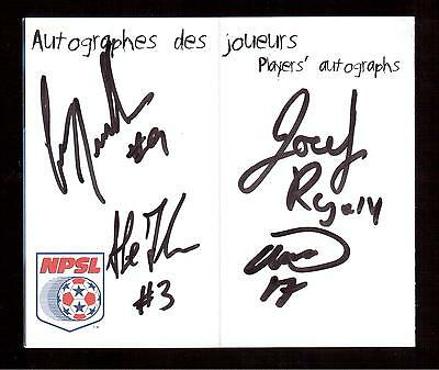 Montreal Impact 1999-2000 Indoor Season Schedule Autographed By 4 Players !!