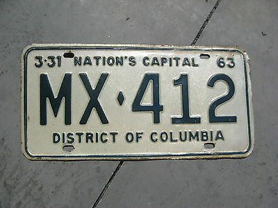 1963 63 Washington District Of Columbia Dc License Plate # Mx 412