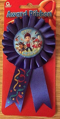 PAW PATROL Happy Birthday Badge Rosette Blue Deluxe Award Ribbon party