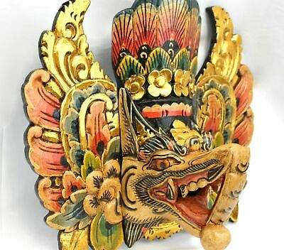 Balinese Ganesha Mask Wall Hanging Hand Carved wood Elephant God Bali Hindu art