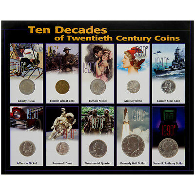 10pc Collector's Ten Decades 20th Century Authentic USA Type Coins Set Display