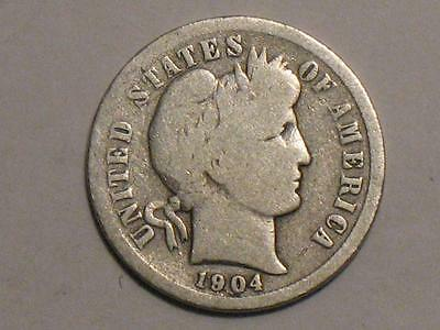 1904 Barber Dime - 90% Silver - Old Type United States Coin