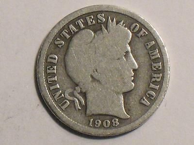 1908 Barber Dime - 90% Silver - United States Coin