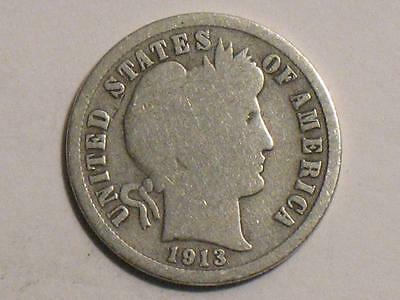 1913 Barber Dime - 90% Silver United States Coin