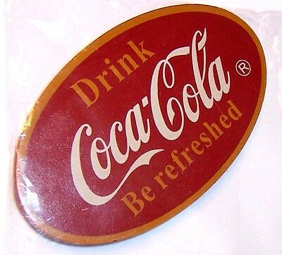 "New Oval Deluxe Coke Wood Wooden Magnet Drink Coca Cola Be Refreshed 4"" X 2 1/4"""