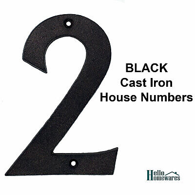 Large Cast Iron Metal Rustic No. 2 House Number - House Fence Letterbox - 155mm