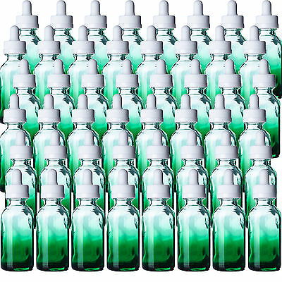 1oz Green Glass Shaded Boston Round Bottles Qty 48 w/White Bulb Dropper Tops NEW