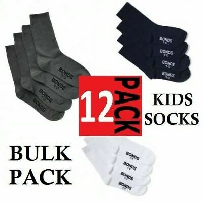 12 PACK x BONDS SCHOOL SOCKS BOYS GIRLS CREW COTTON KIDS NAVY WHITE GREY 12 PAIR