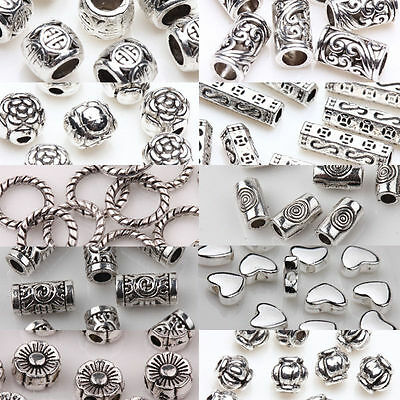 20/50/100 Wholesale Silver Plated Loose Spacer Beads Charms Jewelry Making DIY