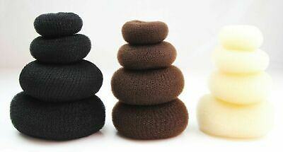 4 PC x HAIR BUN DONUT RINGS RING SCRUNCHIE WOMENS GIRLS DANCE BLACK BROWN BLONDE