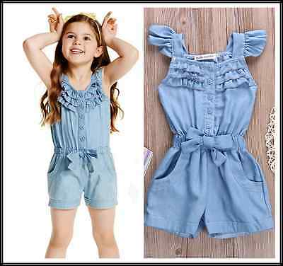 TOP Toddler Kids Girl Cotton Washed Jeans Denim Casual Bow jumpsuit Romper Quote