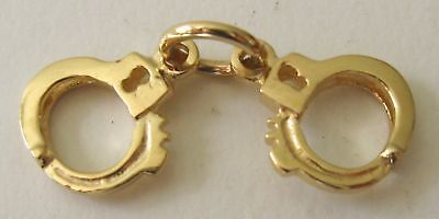 GENUINE SOLID 9K  9ct Yellow GOLD 3D HANDCUFFS HAND CUFFS CHARM
