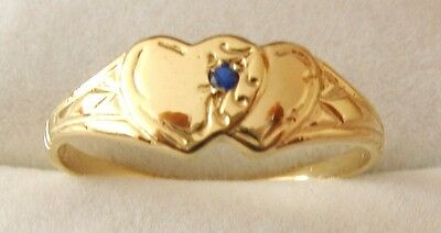 SOLID 9K 9ct SOLID GOLD DOUBLE HEART SAPPHIRE LOVE SIGNET RING Size J/5 to N/7