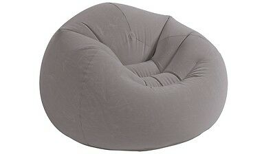 Intex Inflatable Beanless Bag Chair for Sitting, Reading & Relax - Grey