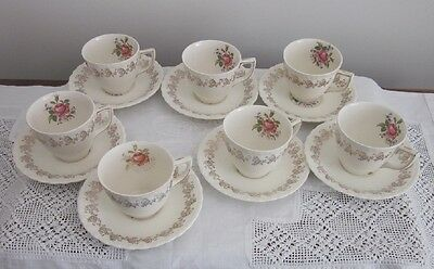 MYOTT ROSE & GOLD CHINTZ M153 LS 7 cups 7 saucers-  Staffordshire England