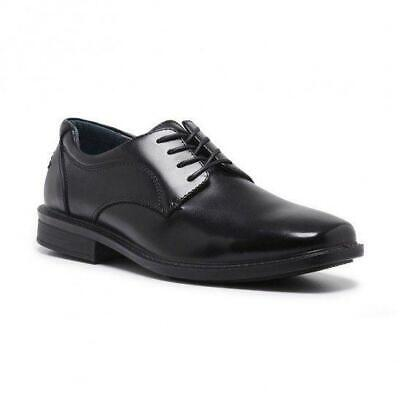 Mens Hush Puppies Heathcote Extra Wide Men's Leather Work Black Lace Up Shoes