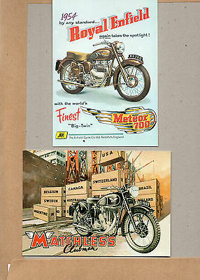 2x vintage Ad gallery cards 1949 Matchless clubman and 1954 Royal Enfield