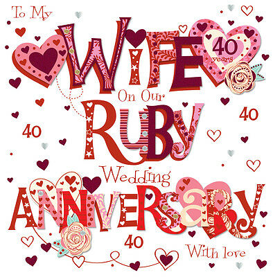 "Wife Ruby 40th Wedding Anniversary Greeting Card 8"" Square Handmade Cards"
