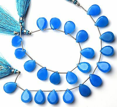 """Natural Gemstone Blue Chalcedony Faceted Pear Shape Briolette Beads 7"""" Strand"""