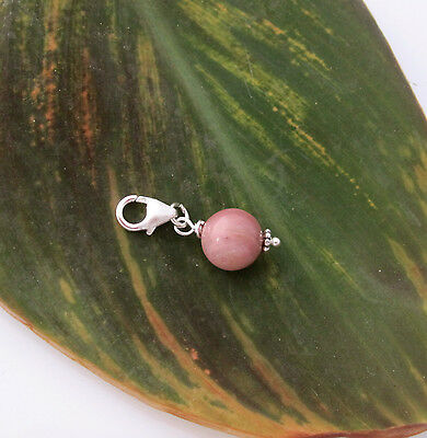 925 Sterling silver 8mm natural pink RHODONITE gemstone clip on charm pendant