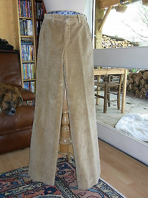 PANTALON FEMME Velours beige T36 VINTAGE 70 Beige velvet woman TROUSERS 6us 8uk