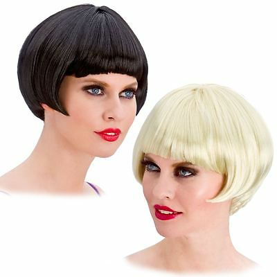 Ladies 20s Short Black Blonde Bob Charleston Flapper Gatsby Fancy Dress Wig