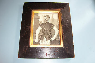 GEORGIAN PORTRAIT PRINT EDWARD COURTENAY aft. MORE ANTIQUE EBONIZED FRAME d.1762