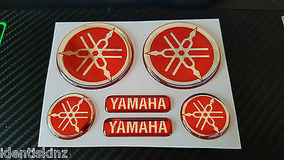 Domed Yamaha Bike Roundal Stickers Decal Silver / Red  Full Kit Forks / Tank