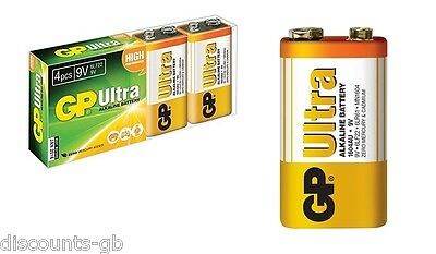 4 x 9v GP ULTRA ALKALINE GP6LR61 C1 BATTERY - 4 Batteries - Smoke Alarm Remote
