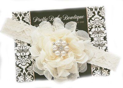 Cream Lace Christening Baptism Blessing Baby Girls Headband Handcrafted in USA