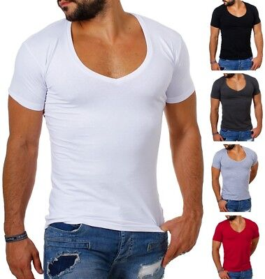Young & Rich Herren T-Shirt extra tiefer V-Ausschnitt slimfit stretch uni 1315