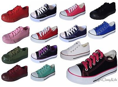 Boys Girls Kids Classic Canvas Shoes Tennis Lace Athletic Sneakers Rubber Sole